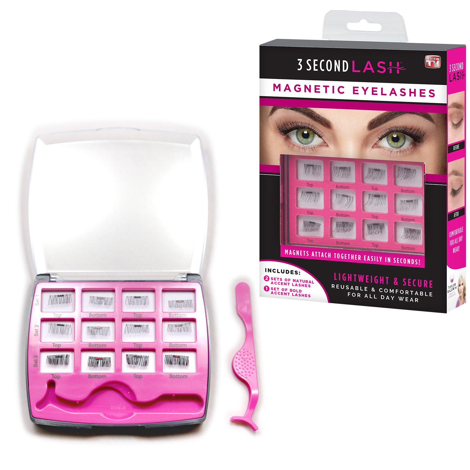 1408176ad1d Amazon.com : Allstar Innovations - 3 Second Lash Magnetic Eyelash Accents,  Includes 2 Natural, 1 Bold Set of Lashes, As Seen on TV : Beauty