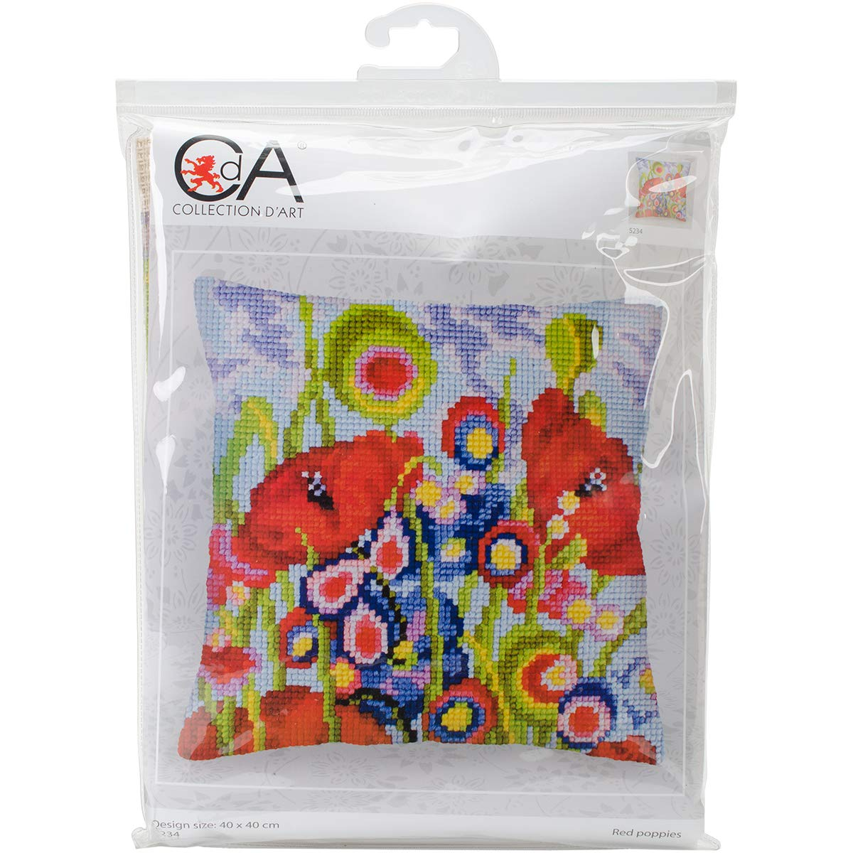 RTORed Poppies II Collection DArt Stamped Needlepoint Cushion Kit 40 x 40cm