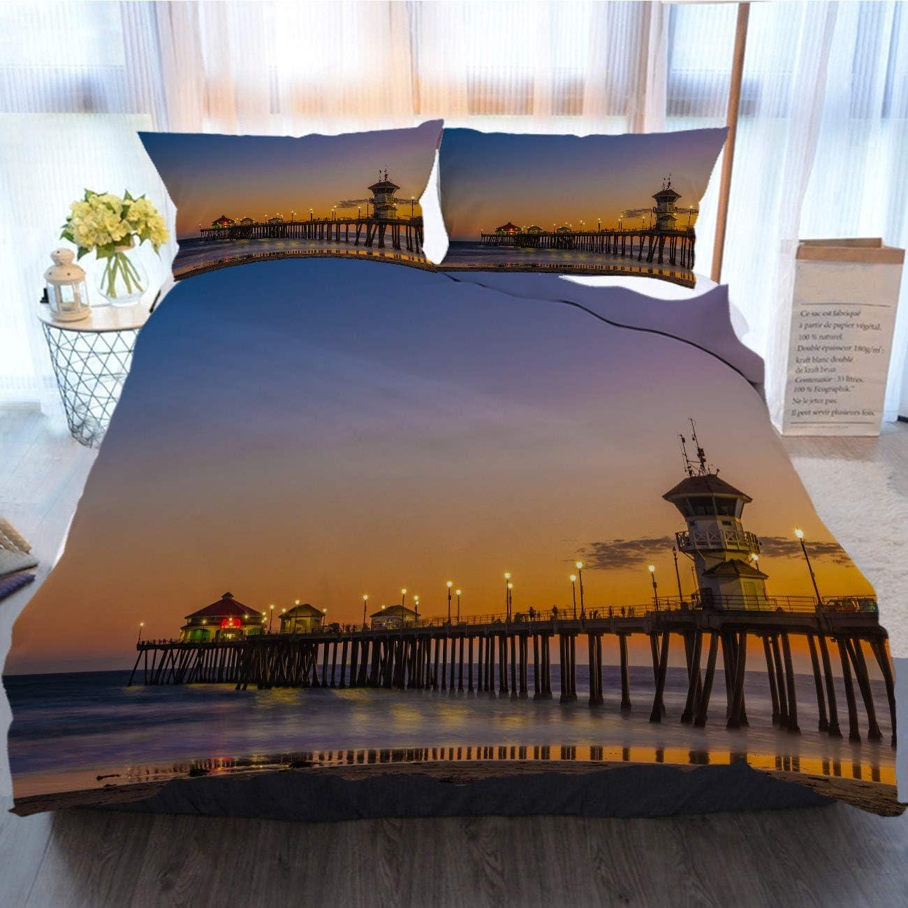Sunset Bedding 3 Piece Duvet Cover Sets,Sunset Dusk Shots of The Pier at Huntington Beach,Home Luxury Soft Duvet Comforter Cover,Twin