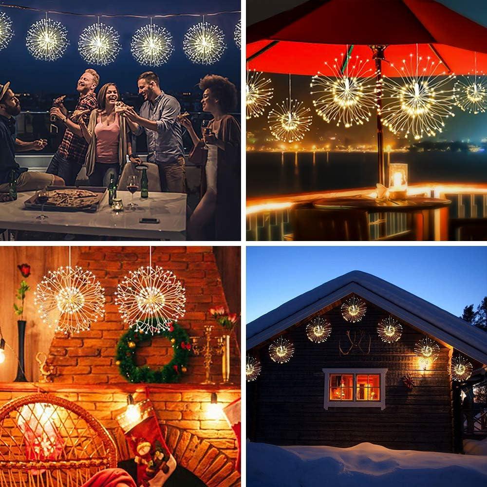 2 Pcs Fuegos artificiales Luces,120 LED Navidad Guirnaldas Luminosas Fuegos Alambre 8 Modos Blanco C/álido con Control Remoto para Jard/ín,Fiestas,Boda,Casas y Fiesta