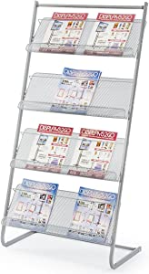 "Magazine Rack for Offices, Stores or Retail, (4) Mesh Shelves, 23.5"" x 9"" Trays, 50""H (Silver Steel)"