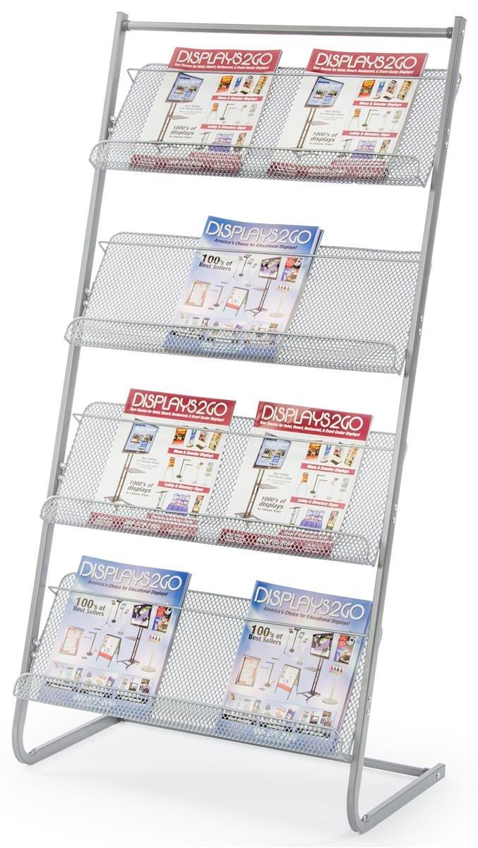 """Displays2go 25"""" Floor Standing Magazine Rack, 4-Tier, Steel (MSMG4TGR)"""