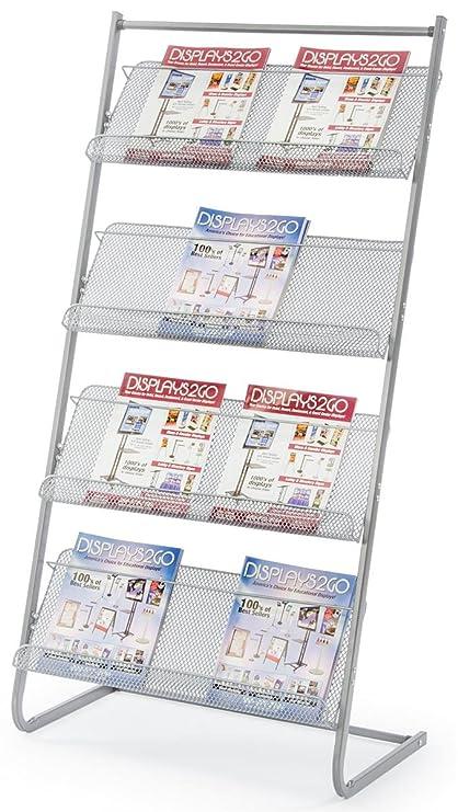 Merveilleux Displays2go 25u0026quot; Floor Standing Magazine Rack, 4 Tier, ...