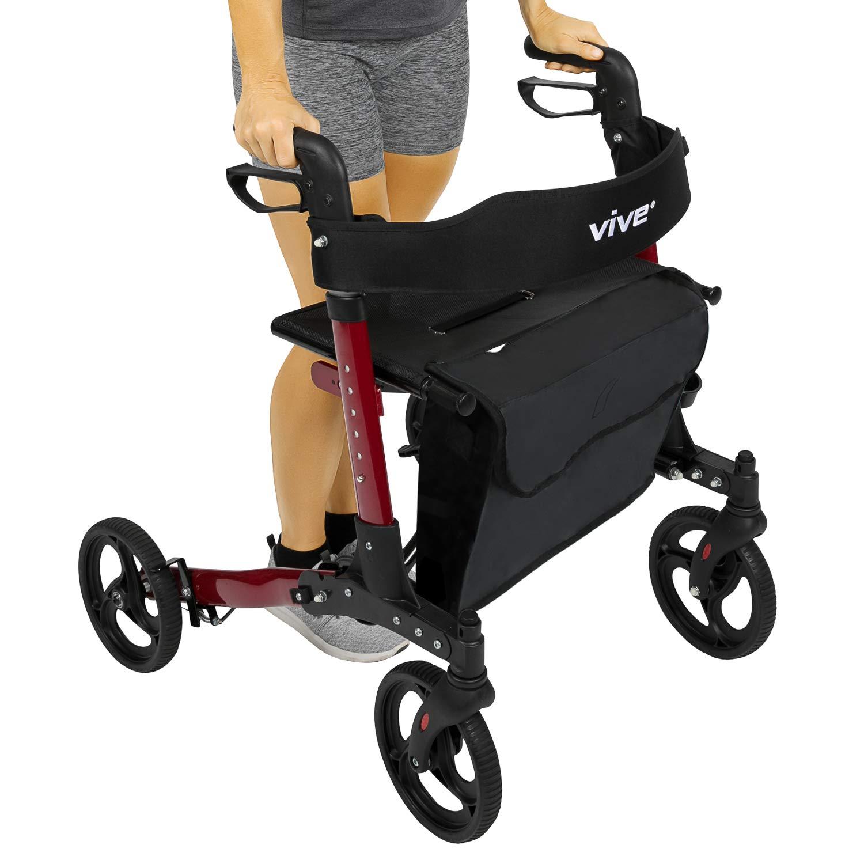 Vive Folding Rollator Walker - 4 Wheel Medical Rolling Walker with Seat & Bag - Mobility Aid for Adult, Senior, Elderly & Handicap - Aluminum Transport Chair (Red) by Vive