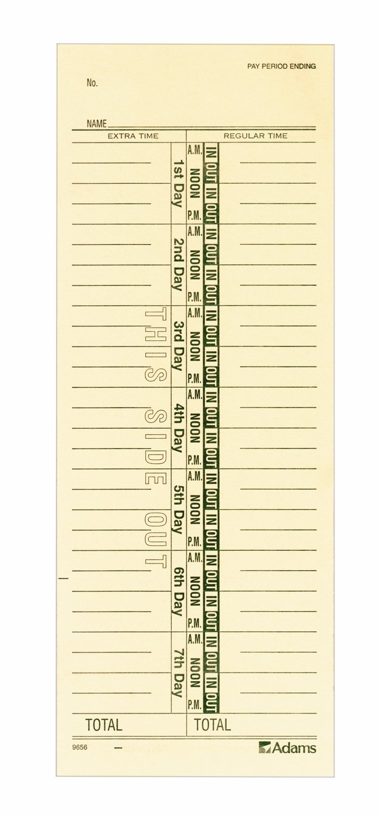 Adams Time Cards, Weekly, 1-Sided, Numbered Days, 3-3/8'' x 9'', Manila, Green Print, 200-Count (9656-200)