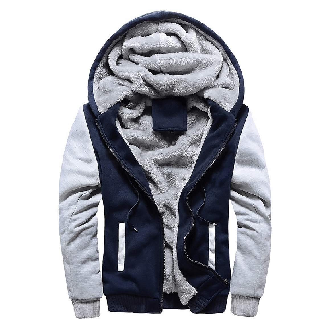 QUHSMen College Style Hooded Baseball Plus Velvet Workout Sweatshirt Hoodies