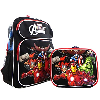 "Kids Boys Licensed Avengers Iron Man Hulk Thor 16"" Large School Backpack Book Bag SET Black Red: Clothing"