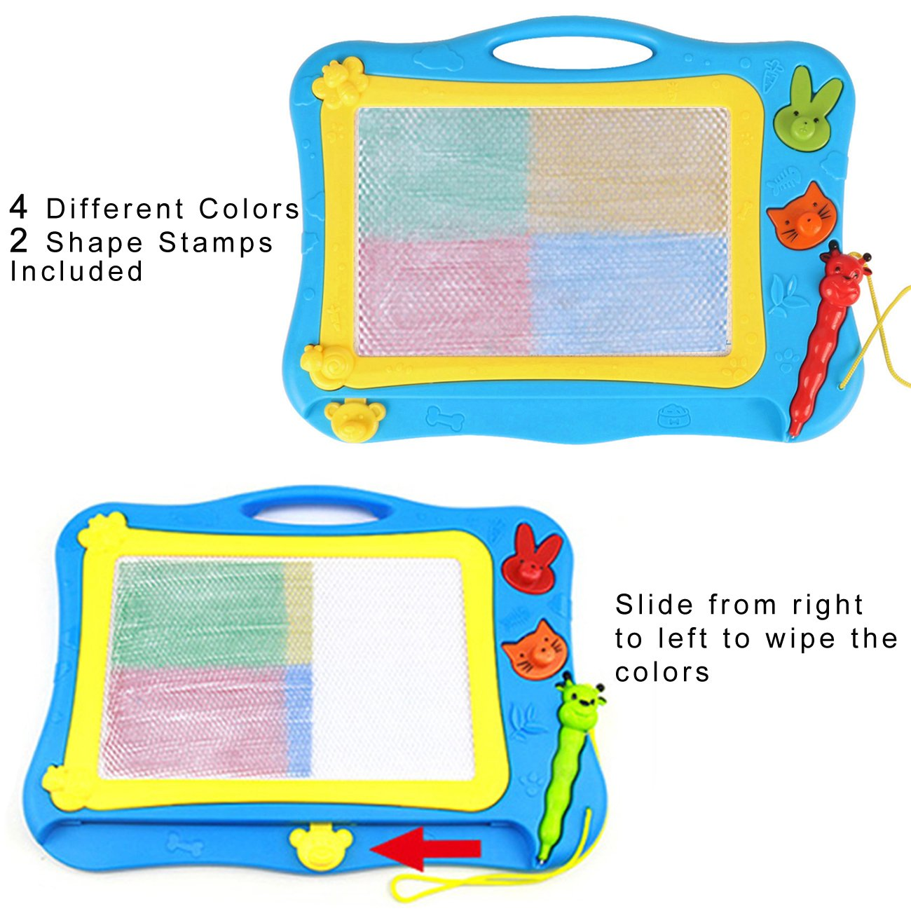 DUTISON Pizarra Magnética Colorido Almohadilla Borrable de Escritura y Dibujo con Pluma para Niños Portátil Tamaño 31 x 21.5 cm (Azul 001)