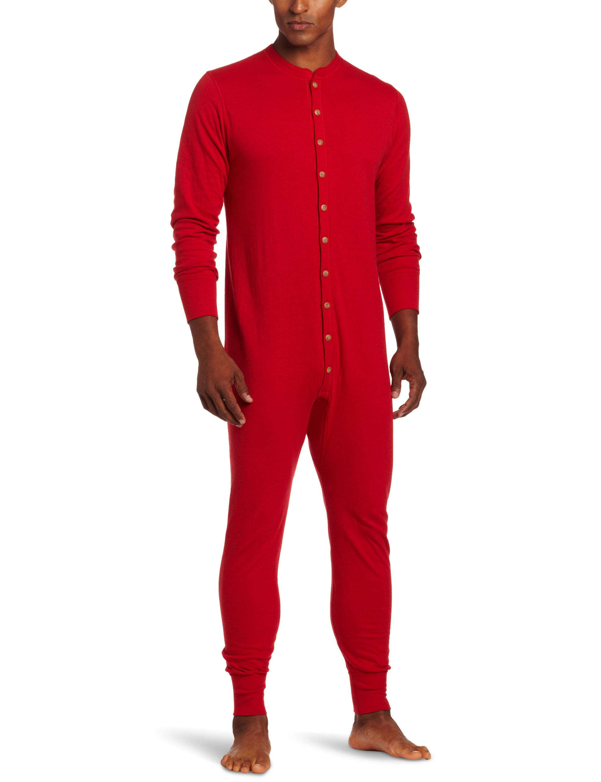 Duofold Men's Mid Weight Double Layer Thermal Union Suit, Red, Large