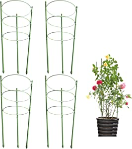 DoubleWood Plant Support Cages 17.7 Inches Plant Cages with 3 Adjustable Rings, Supporter for Vertical Climbing Plants (4PACK)
