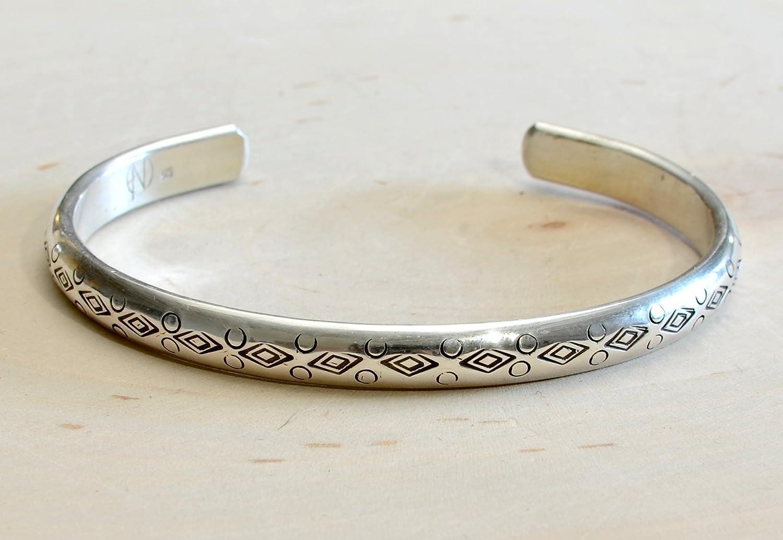 hand made hand stamp Unisex sterling silver cuff bracelet