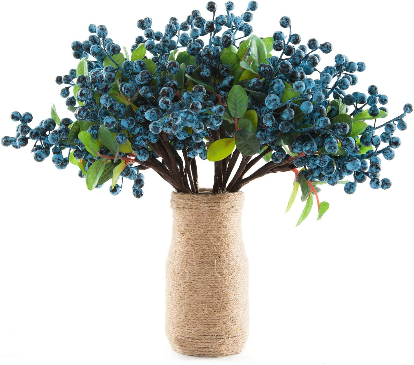 SHACOS Artificial Blue Berry Stems Pack of 20 Fake Blueberries Green Leaves Berry Spray Pick 9.8 inch Floral Crafts for Home Wedding Party Decor (20 PCS, Berry Blue)