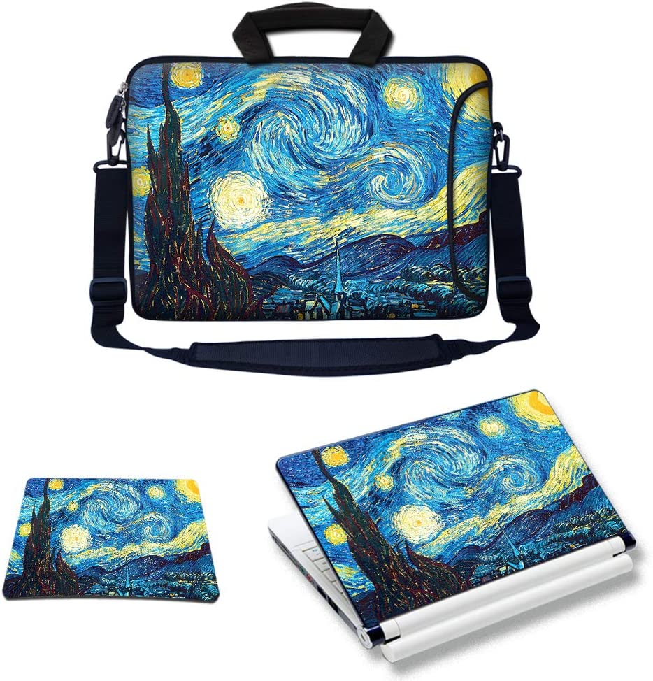 Meffort Inc Laptop Bundle - Includes Neoprene Laptop Bag with Side Pocket Adjust Shoulder Strap with Matching Skin Sticker Decal & Mouse Pad (17.3 Inch, The Starry Night)