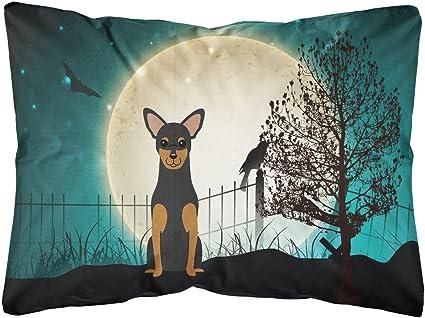 Amazon Com Caroline S Treasures Bb2218pw1216 Halloween Scary Manchester Terrier Canvas Fabric Decorative Pillow 12h X16w Multicolor Garden Outdoor