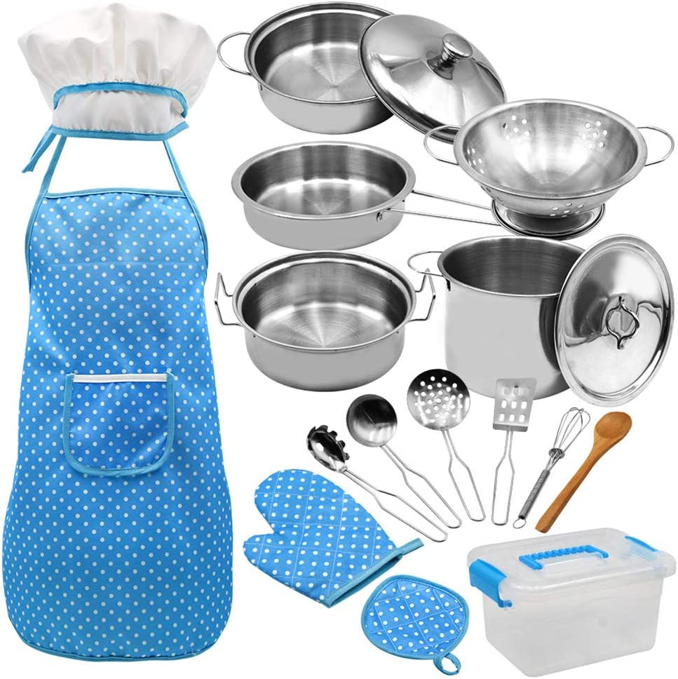 Amazon Com Kani 18pcs Kitchen Pretend Play Toys Include Stainless Steel Mini Cookware Pots And Pans Sets Cooking Utensils Apron Glove Chef Hat For Kids Girls Boys Toddlers Toys Games