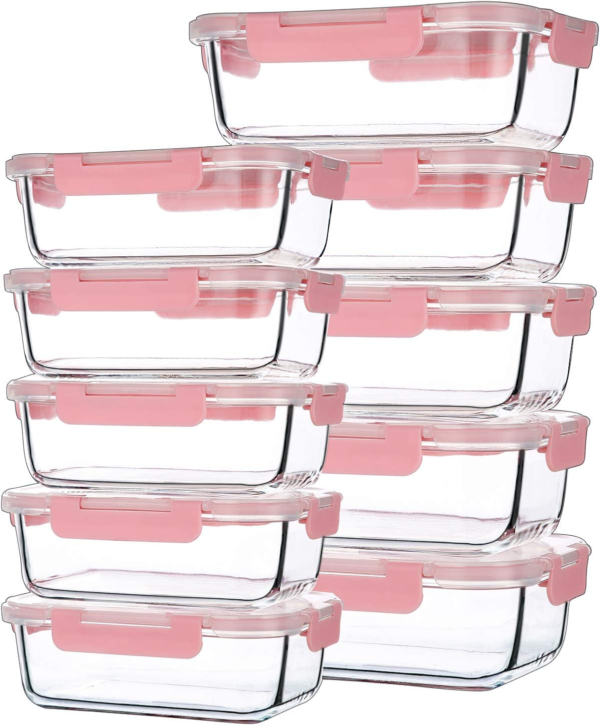 10Pack Two Size(12Oz,34Oz) Glass Food Containers with Airtight Lock Lids,Reusable Square Glass Meal Prep Food Containers
