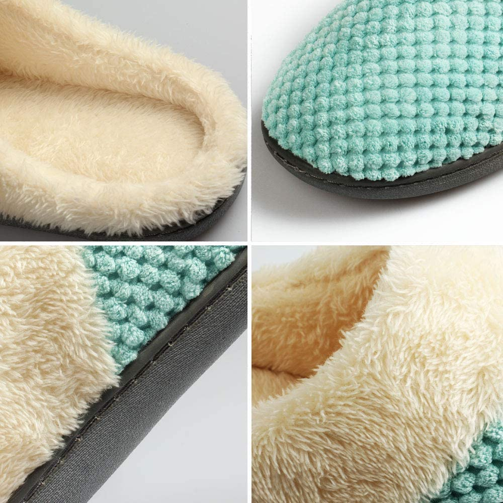 Fu Store Womens House Slipper Comfort Memory Foam Slip On Clog Slippers for Indoor Outdoor Use Anti-Skid TPR Sole Birthday for Friends and Families Mint Green
