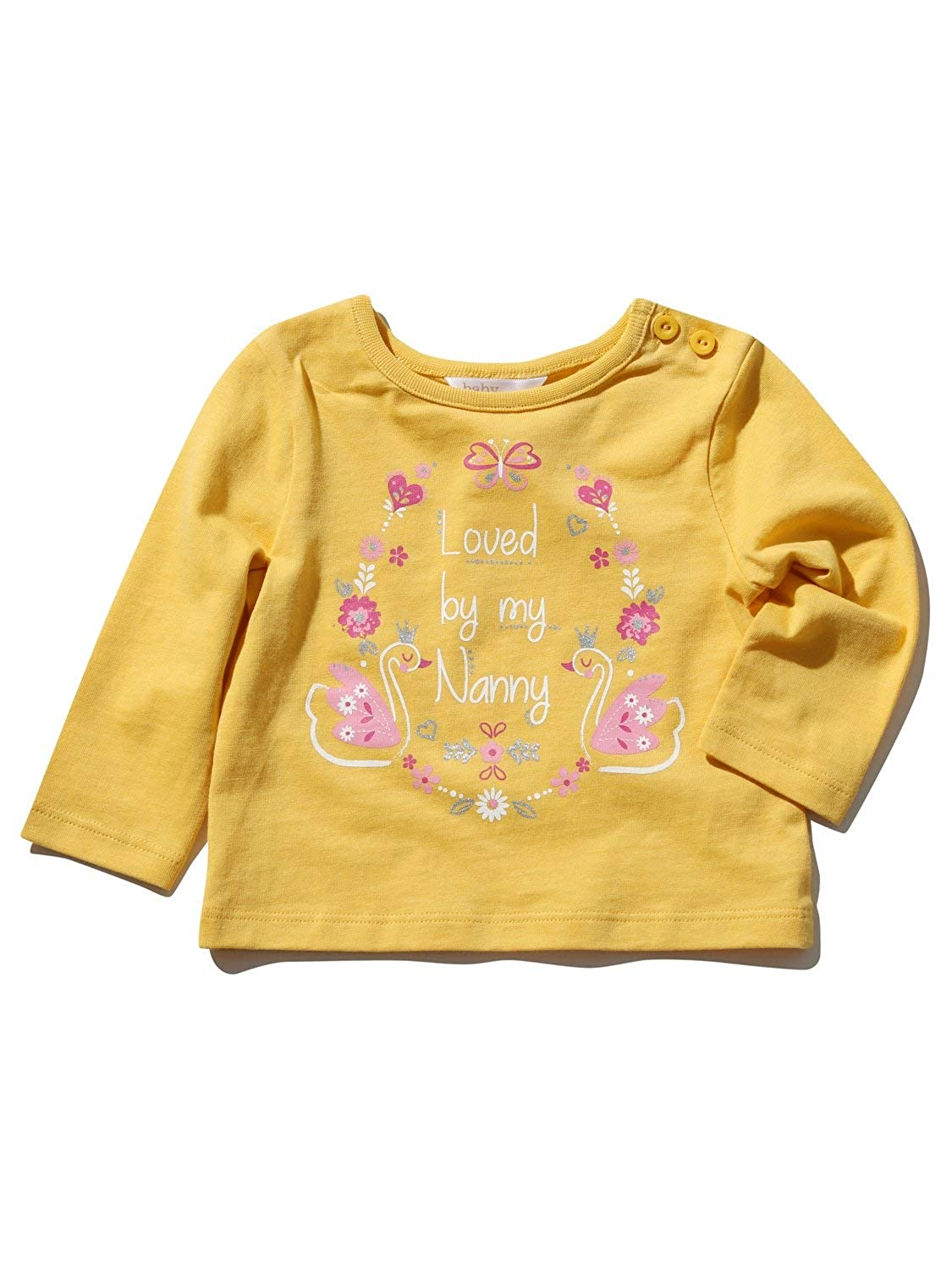 M& Co Baby Girl Mustard Yellow Cotton Long Sleeve Crew Neck Floral Nanny Slogan Print T-Shirt