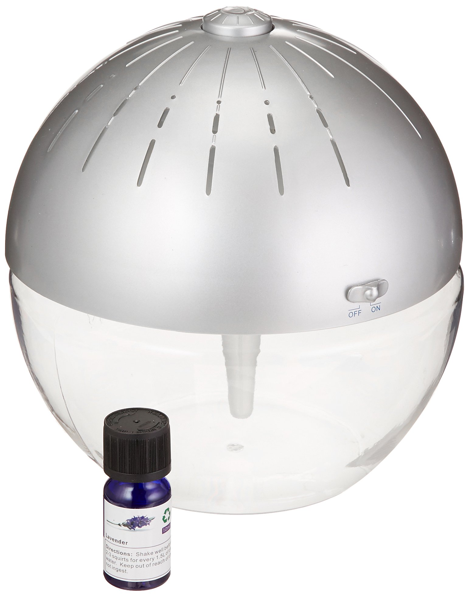 EcoGecko Earth Globe- Glowing Water Air Washer and Revitalizer with Lavender Oil, Silver