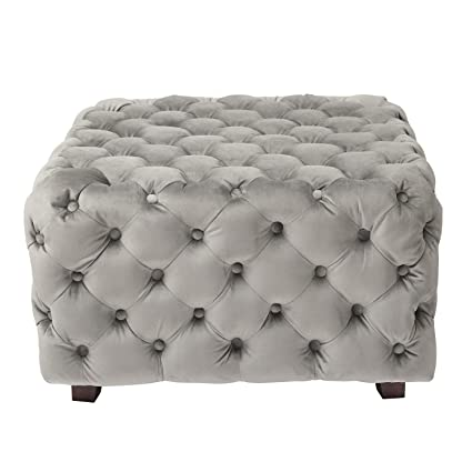 Superb Joveco Storage Ottoman Bench Tufted Velvet Stool For Living Room Gray Square Ottoman Gmtry Best Dining Table And Chair Ideas Images Gmtryco