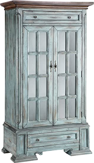 Amazon.com: Stein World Furniture Hartford Cabinet, Antique Blue And Wood  Tone: Kitchen U0026 Dining