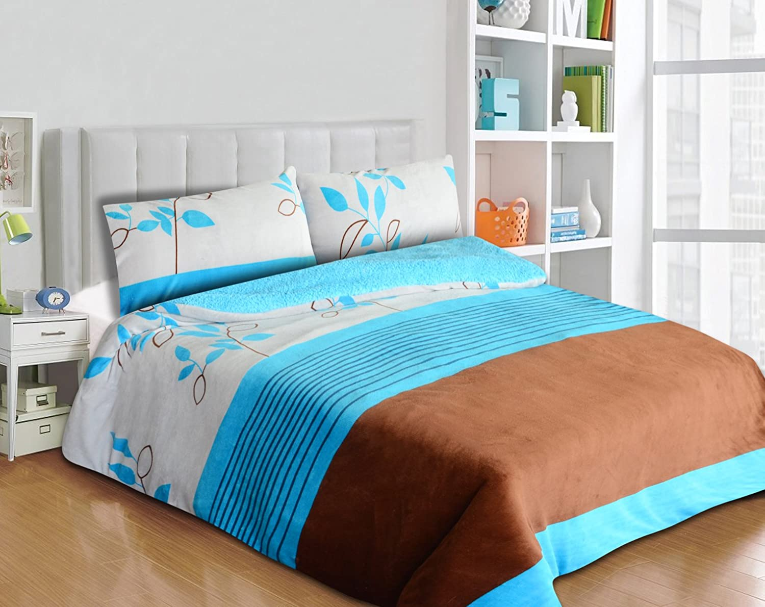 3pc Borrego/ Sherpa Blanket Queen/ King Size (Turquoise/Brown)