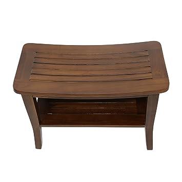 Amazon.com: Teak Waterproof Shower Bath Spa Bench Stool with Shelf ...