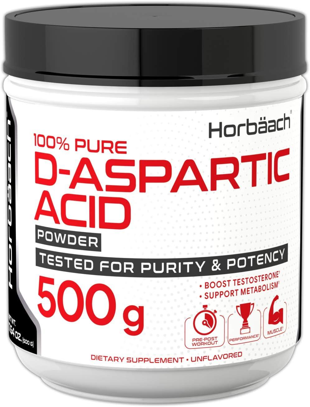 Horbaach D-Aspartic Acid Powder 500 Grams | DAA Testosterone Booster Supplement