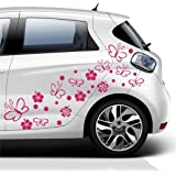 2 X Spiral Butterflies Flowers Vinyl Car Decals Stickers Car