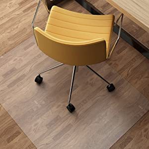 SLYPNOS Chair Mat for Hard Floors, Transparent Hard Floor Protector with Non-Studded Bottom, BPA and Phthalate Free, 48 x 36 Inches Rectangular