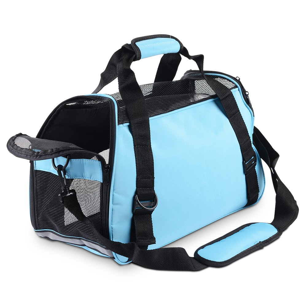 ECBUY Portable Pet Carrier Dog Cat Pet Carrier Airline Approved Under Seat Travel Pet Carrier for Small Dogs Soft Sided Pet Carrier Large for Cats (Blue)