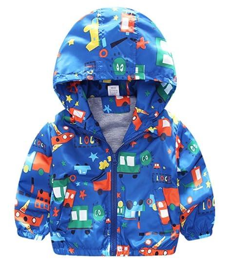 f085723dcd50 Amazon.com  Kids Baby Boys Cartoon Car Print Hooded Coats Zipper ...