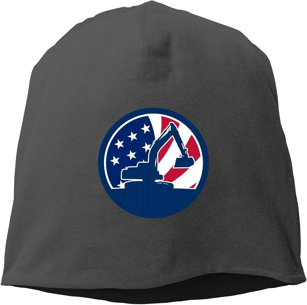 American Excavator USA Flag Skull Cap Helmet Liner Beanie Cap for Men Hip Hop Hedging Head Hat