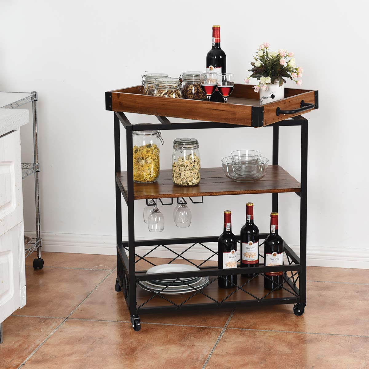 Giantex Kitchen Trolley Cart Island Rolling Serving Carts Utility Cart 3 Tier Storage Shelf with Glass Holde, Handle Racks, Lockable Caster Wheels Kitchen Carts Islands w/Removable Wood Box Container by Giantex (Image #4)