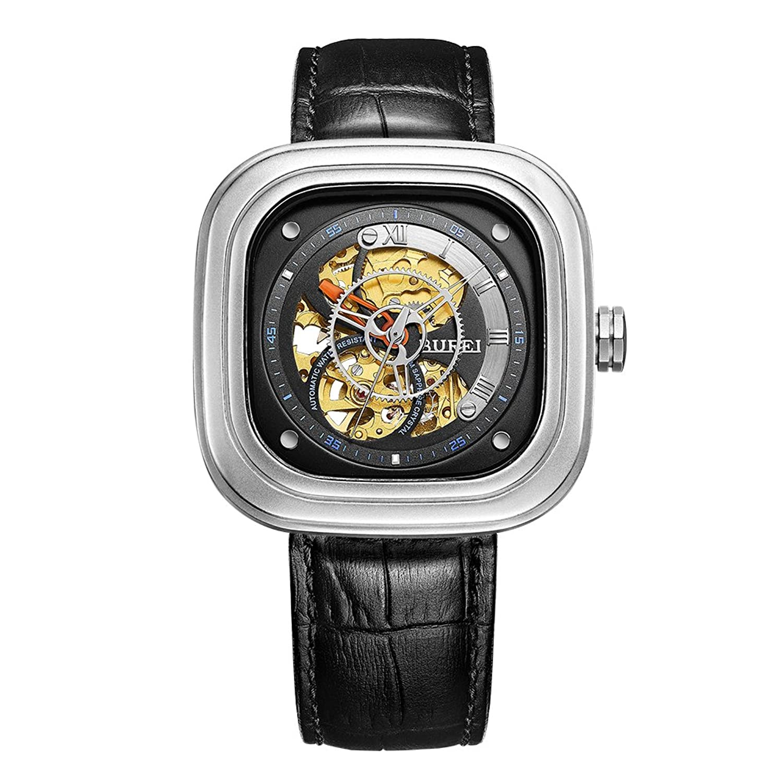 Edelstahl Automatik Skelett Quadrat Zifferblatt Skelett Armbanduhr mit schwarzem Lederband