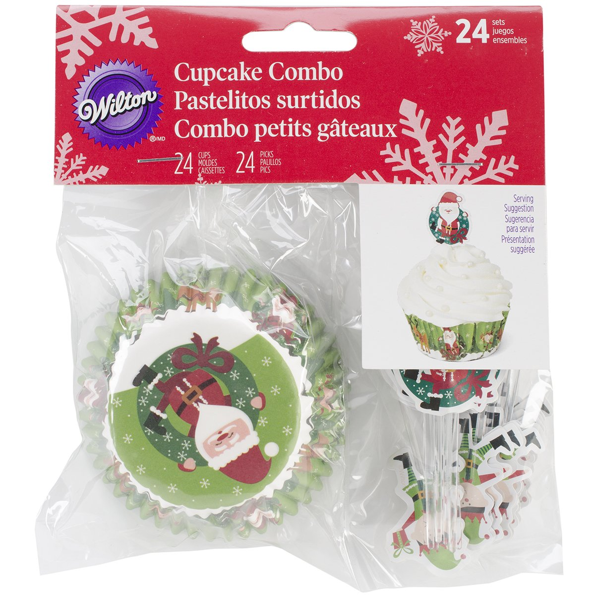 Wilton 415-2661 Christmas Sharing Cupcake Combo Baking Cups and Picks