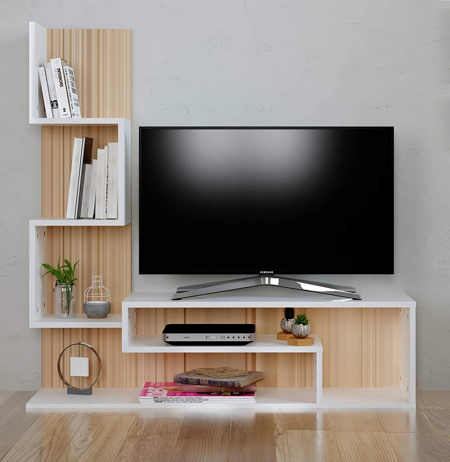 Homidea Mimosa Wall Unit Tv Lowboard Tv Stand Living Room Furniture Set In Modern Design Sonoma White Amazon Co Uk Kitchen Home