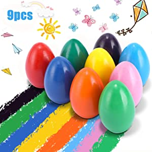 YGBrand Crayons for Toddlers, Palm Grip Crayons Set 9 Colors Non Toxic Crayons Washable Paint Egg Crayon Toys for Kids, Baby, Children, Boys and Girls