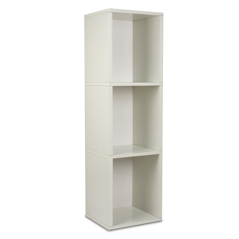 Way Basics Eco 3 Shelf Triple Cube Plus Narrow Bookshelf & Storage Bookcase Shelving, Black Wood Grain (made from sustainable non toxic zBoard paperboard) BS-285-340-1150-BK