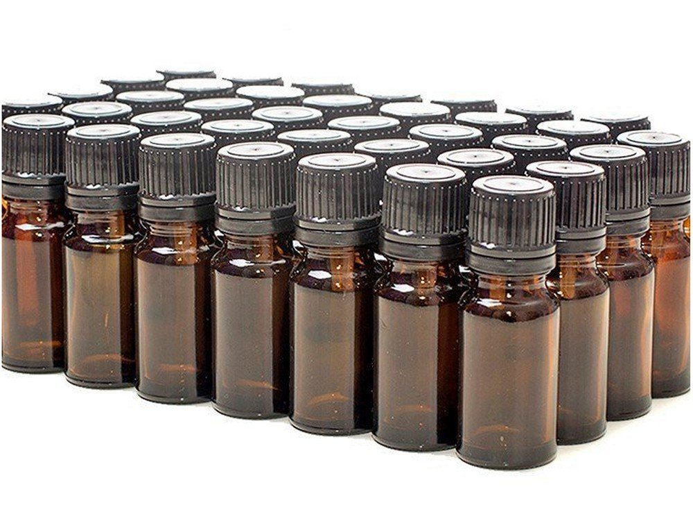 50 x Amber Glass Bottles With Caps Dropper Inserts 10ml scentsmarket