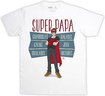 Super papa – Camiseta hombre, blanco, 100% algodón – rigolobo: Amazon.es: Ropa y accesorios