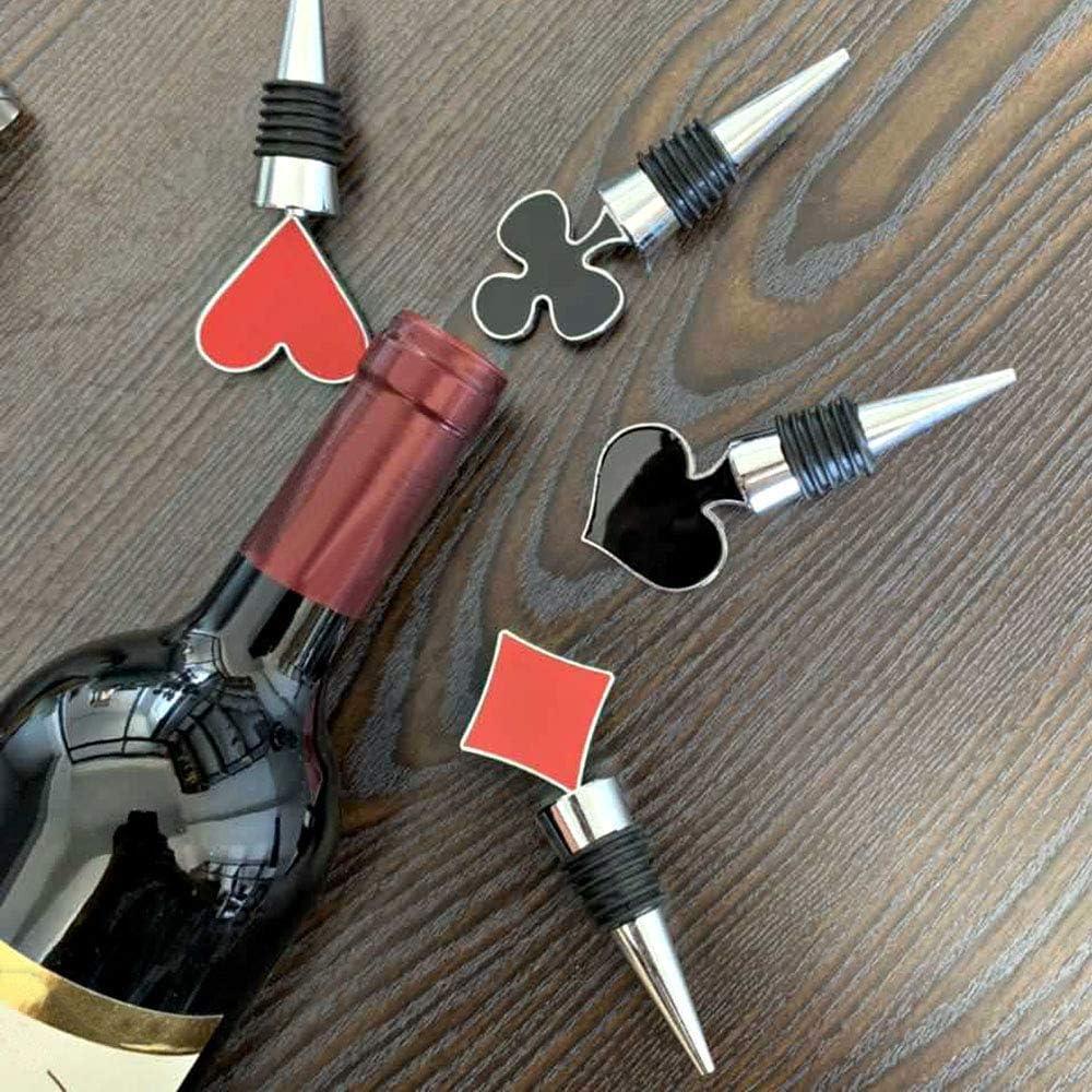 Schwarz Rot Keleily Weinverschluss 4 St/ück Wein Stopfen weinverschluss lustig Spielkarten Weinkonservierer Silikon