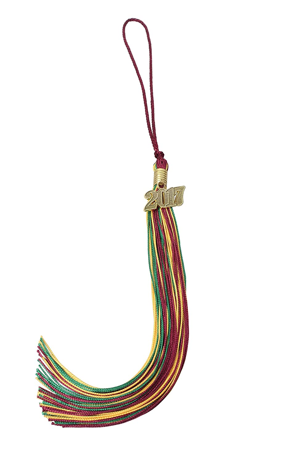 GradPlaza Graduation Tassel with 2017 Gold Year Charm Mix Three Colors