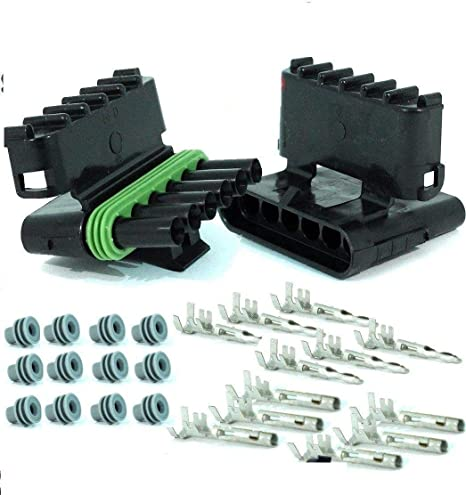 marine jetski boat WEATHER PACK 4 PIN CONNECTORS 5 Sets 12-16 AWG used for cars 4 PIN motorcycle trucks trailer