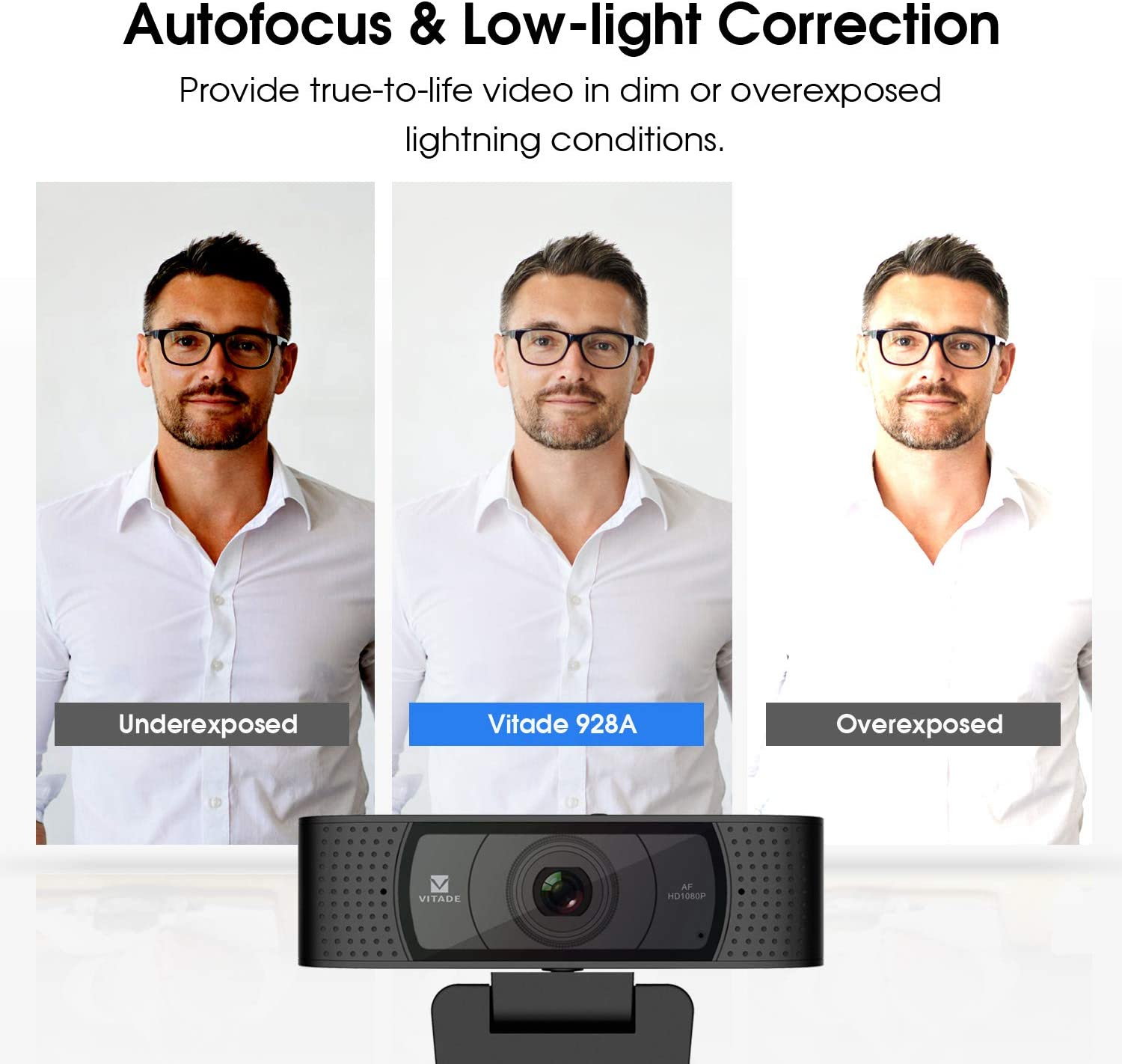 Webcam 1080P with Microphone & Cover, Vitade 928A USB HD Desktop Web Camera Video Cam for Streaming Gaming Conferencing Mac Windows PC Computer Laptop Xbox Skype OBS Twitch YouTube (Tripod Included) 71fA1T15s4L