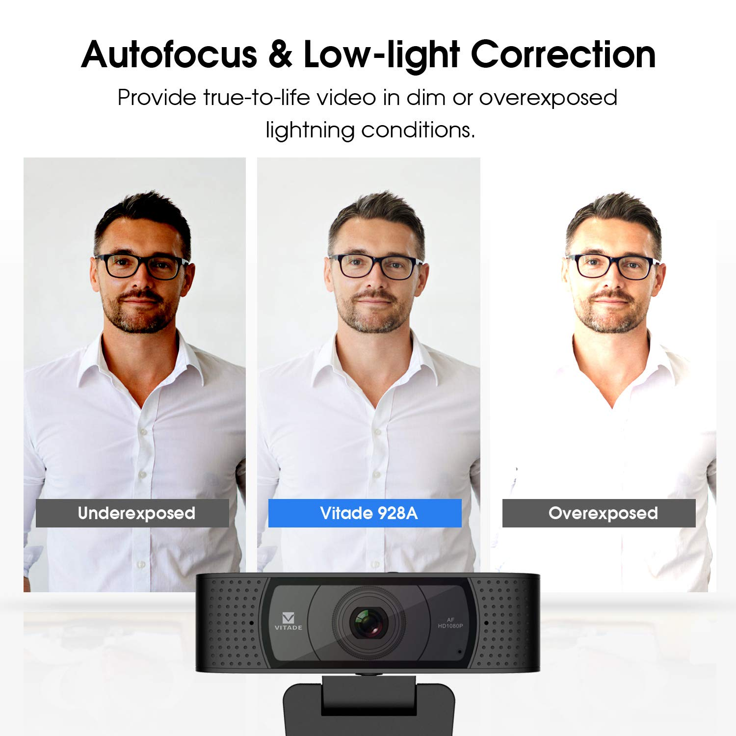 Vitade 928A Pro USB Computer Web Camera Video Cam for Streaming Gaming Conferencing Mac Windows PC Laptop Desktop Xbox Skype OBS Twitch YouTube Xsplit HD Webcam 1080P with Microphone /& Cover Slide
