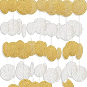 MerryNine Paper Garland, 5 Pack 50ft Glitter Paper Garland Circle Dots Hanging Decor, Paper Banner for Baby Shower, Birthday, Nursery Party Decor(Circle Polka Dots-Flash Gold and silver-50 Feet)