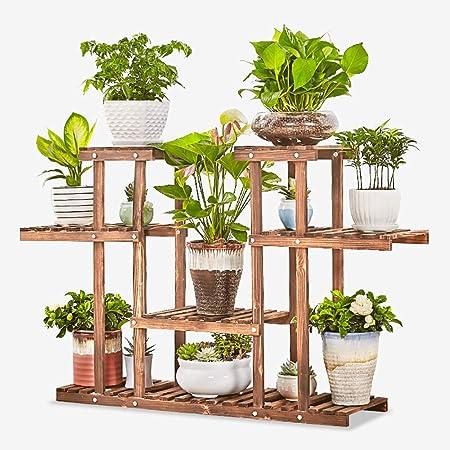 Estantería para Macetas Soporte De Madera Maciza para Plantas Flores Recipientes Escalera Múltiples Capas Estante para Jardín Balcón Exterior Interior Decorativa,Brown-(4-Tier): Amazon.es: Hogar