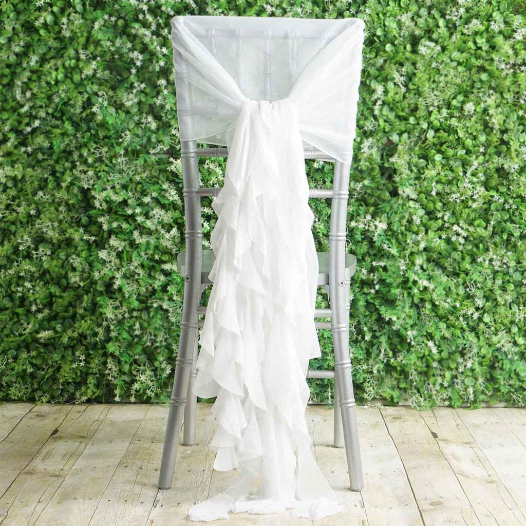 Efavormart 1 Set White Premium Designer Curly Willow Chiffon Chair Sashes for Home Wedding Birthday Party Dance Banquet Decoration