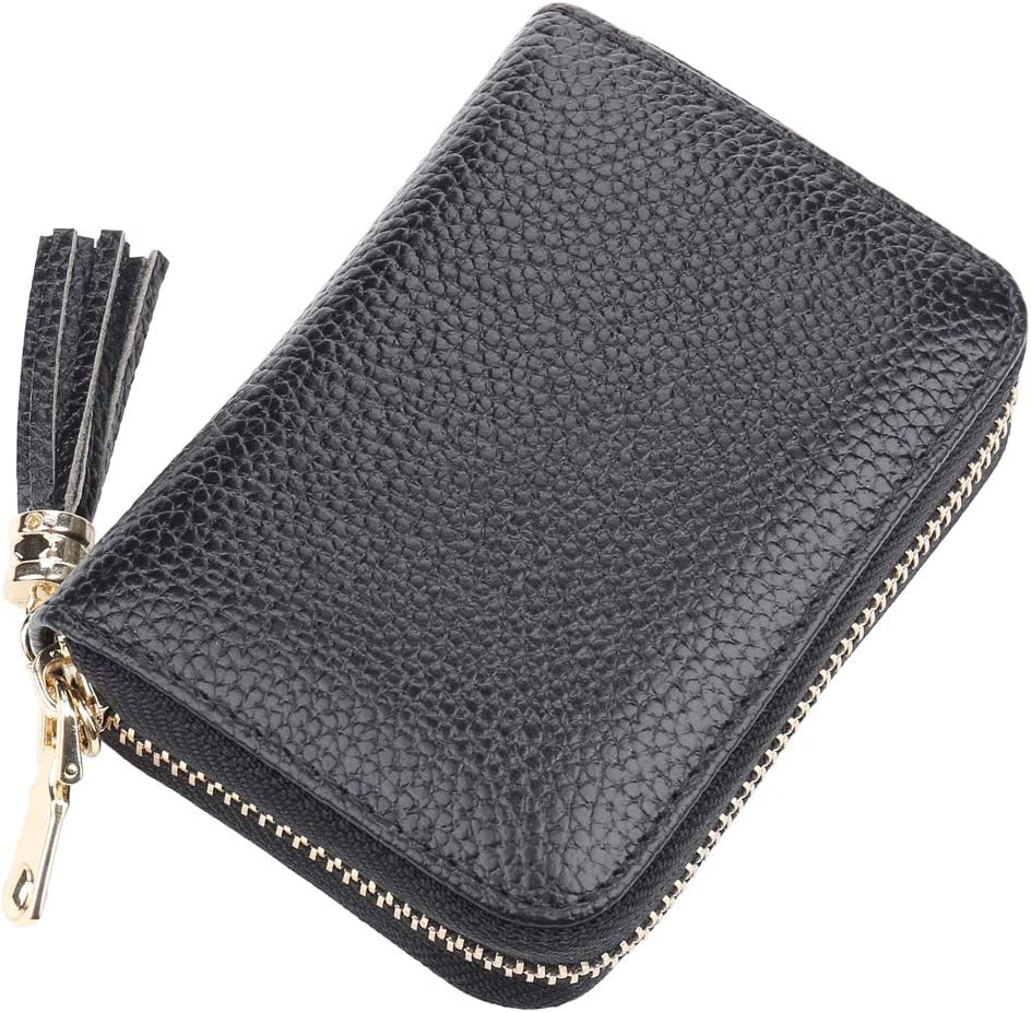 Freelynn Credit Card Holder Wallet for Women Ladies Leather Wallet with Zipper RFID Blocking ID Card Protector Security Bag Case Compact Small Black
